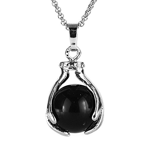 (BEADNOVA Healing Natural Black Onyx Gemstone Necklace Crystal Ball Pendant Necklace with Stainless Steel Chain 18 Inches)