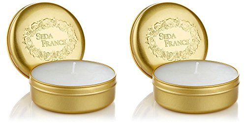 Seda France Rhubarb Pear Classic Toile Single Travel Tin Candle Set of 2