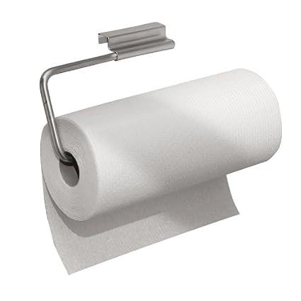 mDesign Soporte para rollo de papel de cocina - Portarrollos colgante - Práctico Dispensador de rollos
