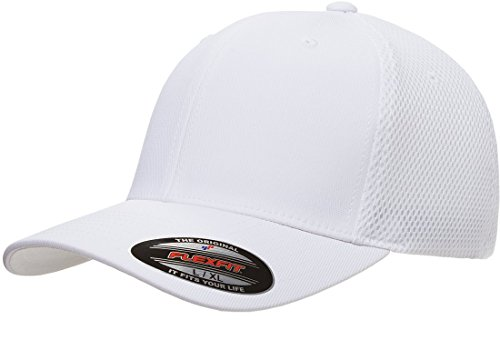Flexfit 6533 Ultrafibre & Airmesh Fitted Cap, White - - Fit Hat White Flex