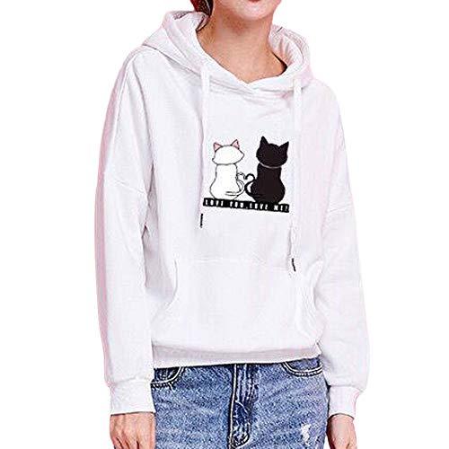 Womens Long Sleeve Hoodie Fashion Cat Print Sweatshirt Casual Long Sleeve Hooded Winter Autumn Sport Tops Warm Coat White