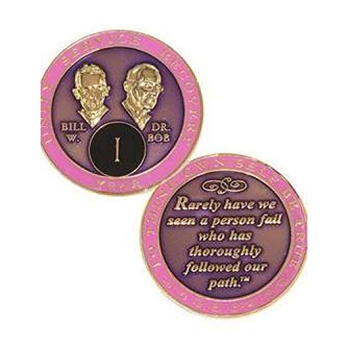 Recovery Line 7 Year AA Medallion - Alcoholics Anonymous Purple & Pink with Bill & Bob Sobriety Chip,Token, - 24kt Gold 7 Coin