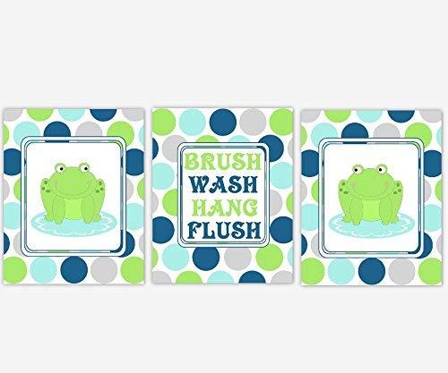 (Frog Kids Bath Wall Art Children Bathroom Decor Prints Brush Wash Hang Flush Rules SET OF 3 UNFRAMED PRINTS)