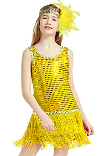 BABEYOND Girls 1920s Flapper Dress Headband Art Deco Gatsby Sequin Dress for Kid (Yellow, Large-1)