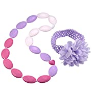 Dolle Baby Silicone Teething Nursing Necklace with Free Headband for Baby Girls(Purple)