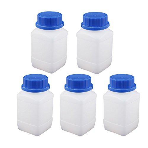 uxcell 5Pcs 250ml Plastic Square Wide Mouth Chemical Sample Reagent Bottle (Wide Mouth Reagent Bottles)