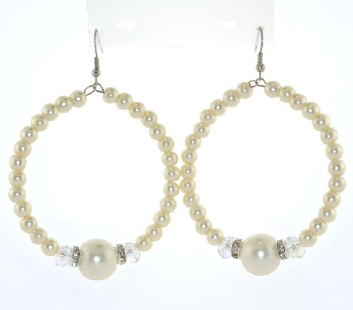 2 3/4 in. Dangle Drop Faux Pearl, Clear Crystal Rings and Beads Ear-wire Hoop (Earwires Hoops)
