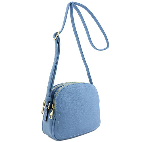 Double Zip Half Moon Crossbody Bag Denim Blue
