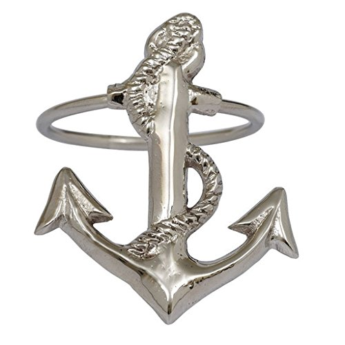 DII Design Imports Boat Anchor Metal Napkin Rings - Set of 4 - Polished Silver Finish by Design Imports