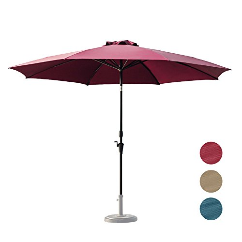 C-Hopetree 11 Foot Large Shade Outdoor Patio Market Umbrella, Collar Tilt, 8 Fiberglass Ribs, 250gsm Polyester Canopy, Red