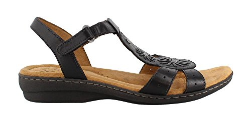 Natural Soul Women's Barroll T Strap Sandal,Black Leather,US 9 W