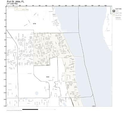 St Johns Florida Map.Amazon Com Zip Code Wall Map Of Port St John Fl Zip Code Map
