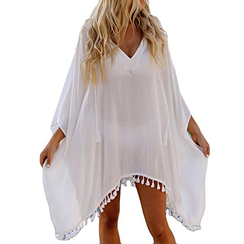 Women Bikini Swimwear,Ladies Beach Smock Chiffon Hooded Coat Tops Suit (XL, White)