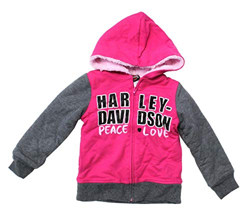 Harley-Davidson Girls Youth French Terry B&S Logo Sherpa Lined Full Zip Hoodie (6) Pink
