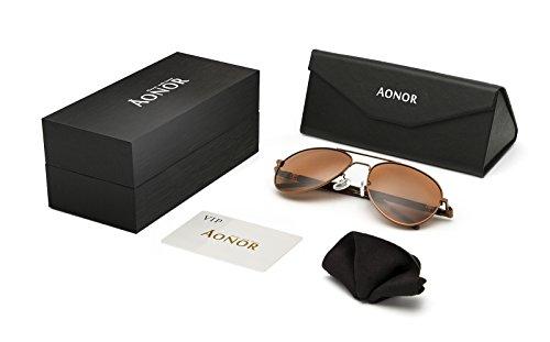 e22cb3ad574 AONOR Aviator Polarized Sunglasses for Men and Women (Tea