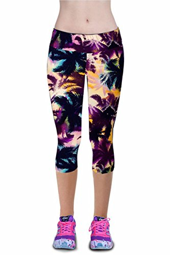 Women's Active Workout Capri Leggings Shorts Stretchy Tights(Print2,Large)