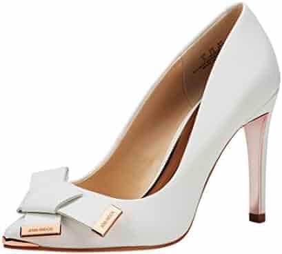 f1c0ee9aaadc JENN ARDOR Women s Stiletto High Heel Pumps Pointy Toe Bowknot Slip On  Bridal Wedding Shoes