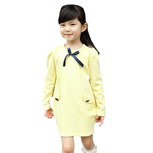 Waboats Fall Kids Girls' Temperament Pockets Princess Dress 4T Yellow