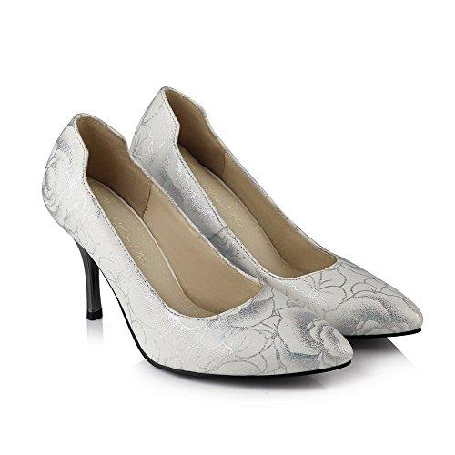 Allhqfashion Mujeres Spikes Stilettos Blend Materials Surtido De Zapatos De Tacón Alto En Punta De Color Blanco