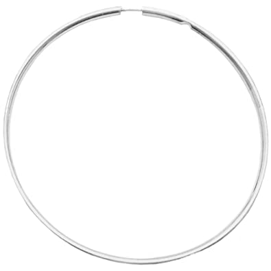 """9b995f46e Very Thin Endless Hoops, 35mm 1 3/8"""" Silver Tone in Silver Tone"""