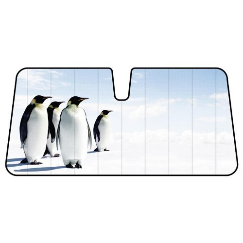 Snow Ice Happy Penguins Animal Car Truck SUV Front Windshield Sunshade - Accordion Style by LA Auto Gear (Image #1)
