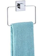WENKO Vacuum-Loc® handdoekring Quadro roestvrij staal - handdoekhouder, handdoekstang, roestvrij staal, 18,5 x 14 x 3,5 cm, glanzend