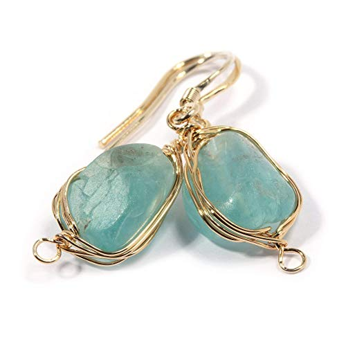 Natural Stone Wire Wrap Dangle Drop Earrings Gold Plated 925 Sterling Silver Hook/Rough Apatite