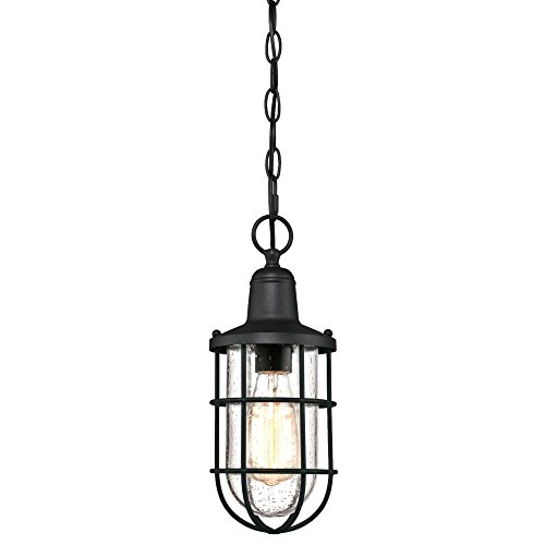 Westinghouse Lighting 6334800 Crestview One-Light Outdoor Pendant, Textured Black Finish with Clear Seeded Glass, Oil Rubbed Bronze (Fixtures Pendant Outdoor Lighting)