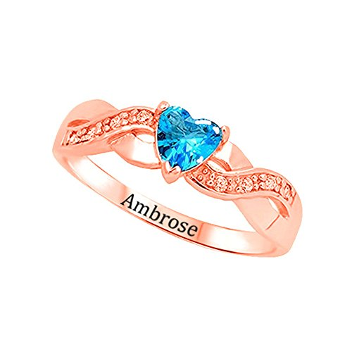 Shiny Alice Personalized Infinity Mother Jewelry Rings for Mom with Simulated Birthstones and Names(Rose-Gold 7) ()