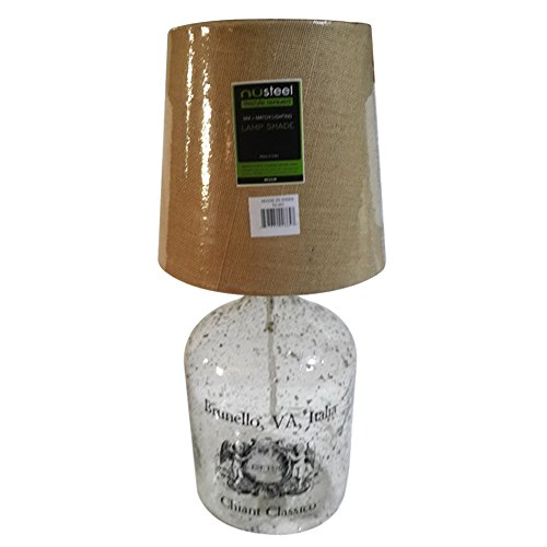 nu steel Clear Glass with dust Bubbles Decorative Table Lamps with Jute Shade