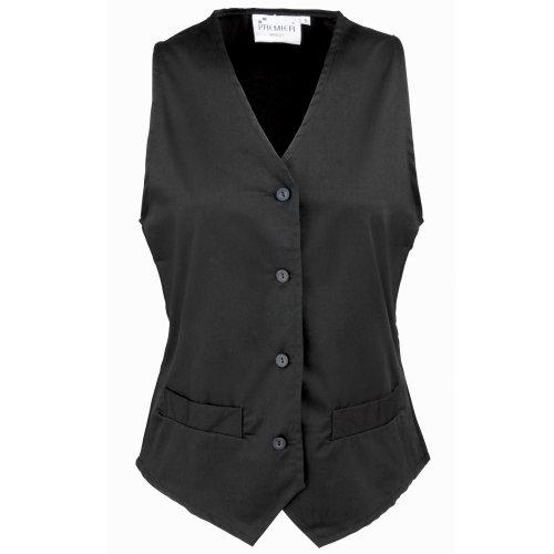 Premier Womens/Ladies Hospitality Waistcoat / Catering / Barwear (M) (Black)