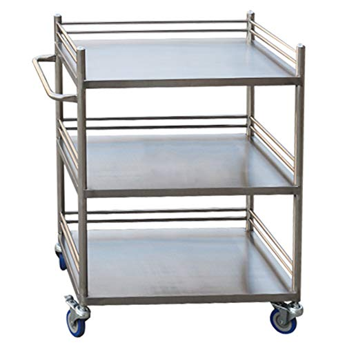 LXLA – 3 Shelves Metal Beauty Salon Storage Cart Dentist Wax Treatment Tattoo Shelf Trolley (Size : 50×40×86cm)