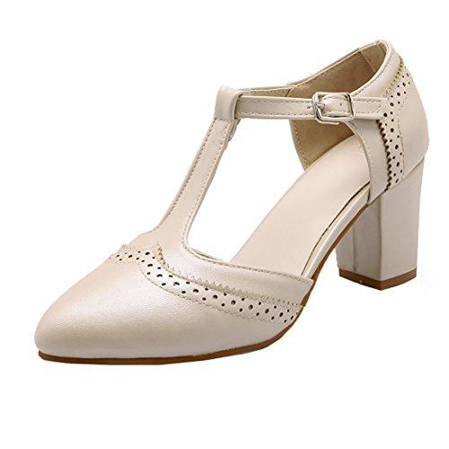 Sandales Boucle Elegantes pour Beige Douce Pointu Laniere T à Femmes UH Bout Carre Journee Talons Basse en x0Ww56FUzq