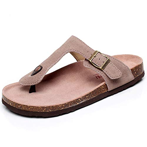 Asifn Women's Sandal Cork Sandals Slide Flat Strap Buckle Girl Leather Footbed Adjustable Casual Double Toe Shoes Summer Open Platform Suede Slides Brown(8.5 US Men/9 US Women,25.5 cm Heel to Toe