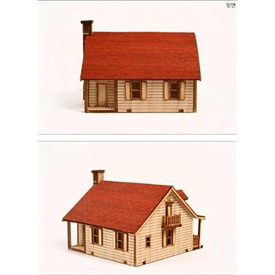DESKTOP Wooden Model Kit Western House 2 by Young Modeler: Toys & Games