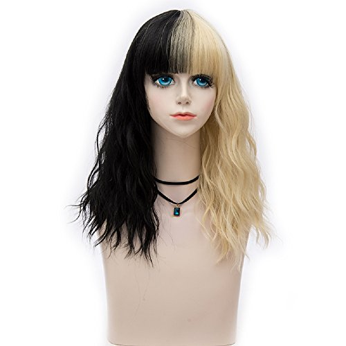 Probeauty 14 Inches Women Girls Short Curly Synthetic Wig with Full Bangs Mix Color, 230 Grams (Black mix BLonde)