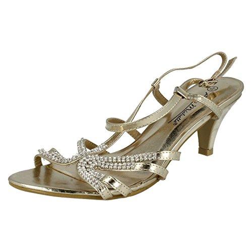 Anne Michelle Ladies Diamante Detail Cross Over Heels Gold UkGHYC2X