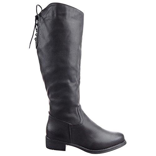 Sopily - Zapatillas de Moda Botas Cavalier Western Rodilla mujer Sexy tanga encaje de nuevo Talón Tacón ancho 3.5 CM - plantilla sintética - forradas en piel - Negro