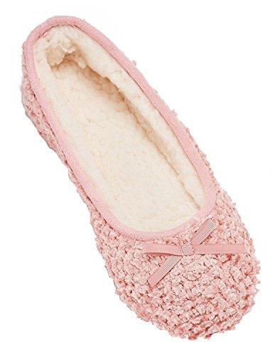 Mixin Womens Elegante Litchi Vellutata Soft Suola Interna Ballerina House Pantofole Piatte Scarpe Rosa