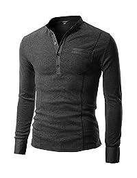 COOFANDY Men's Basic Long Sleeve Henley Shirt Casual Slim Fit T Shirt