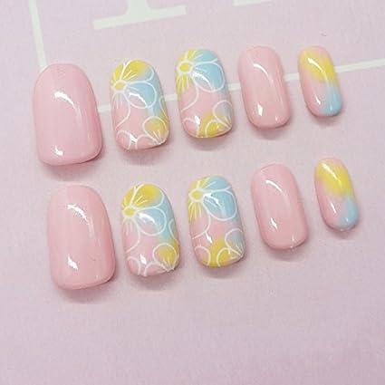 yunail 24pcs verano fresco Gradiente Candy flores ovalada uñas postizas Tips