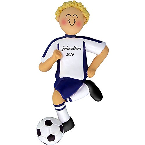 Calliope Designs Soccer Personalized Christmas Ornament - Blue Uniform - Boy - Blonde Hair - Dribbling Ball - Handpainted Resin - 4.5
