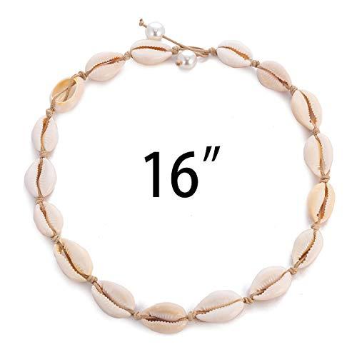 TOMLEE Natural Cowrie Shell Beads Handmade Choker Necklace Boho Hawaii Chocker Summer Jewelry for Women Girls Gift (White & 16
