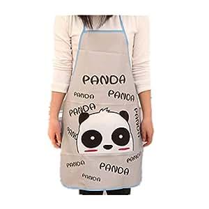Cartoon Apron, Curious Baby Panda, Unisex Kitchen Bib Apron with Adjustable Neck for Cooking Baking Gardening
