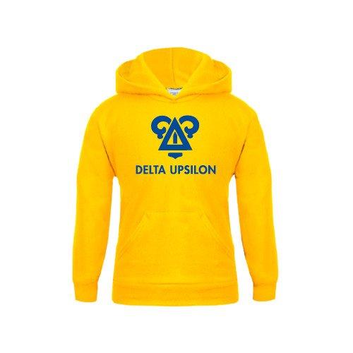 CollegeFanGear Delta Upsilon Youth Gold Fleece Hoodie Badge Delta Upsilon Stacked