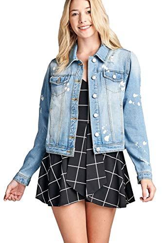 - Women's Classic Denim Distressed Bleach Spot Splatter Buttoned Front Jean Jacket (Small, Light Blue)