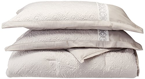 Madison Park Signature Arianne King Size Bed Comforter Set Bed in A Bag - Grey, Quilted Embroidered - 8 Pieces Bedding Sets - Polyester Satin Silk Bedroom Comforters