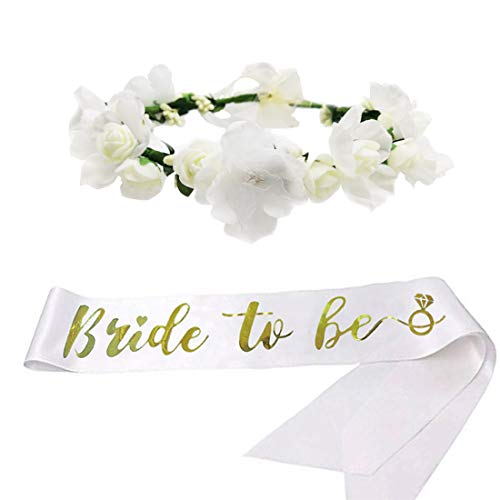 SEWEI Bachelorette Party Sash Crown Flower Headband for Wedding Engagement Party Decoration Bride Tribe Gift
