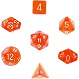 Polyhedral 7-Die Translucent Dice Set - Orange