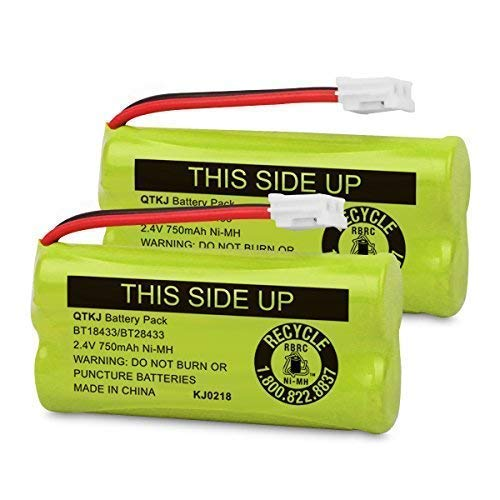 QTKJ BT184342 BT18433 BT28433 BT284342 bt183348 BT-1018 Cordless Phone Battery for AT&T CL80109 TL90078 Vtech CS6209 BT-8300 CS6219 CS6229 DS6301 DS6151 DS6101 BT-1022 Uniden DCX400 Handset (2Pack) (Battery Cordless Vtech Phone)